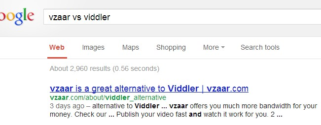 "������ Google �� ������� ""Vzaar vs Viddler"""