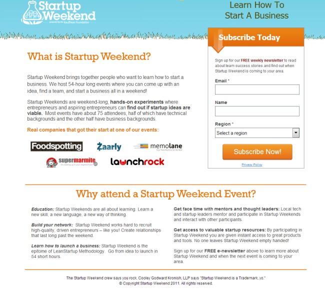 Целевая страница Startup Weekend